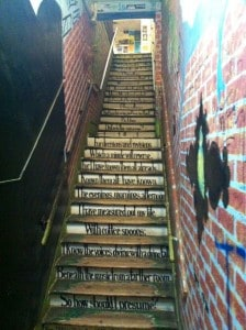 stairs leading to Cosmic Cantina Restaurant Durham NC