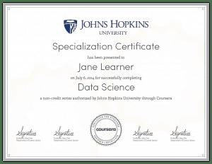 Coursera Data Science Specialization Certificate