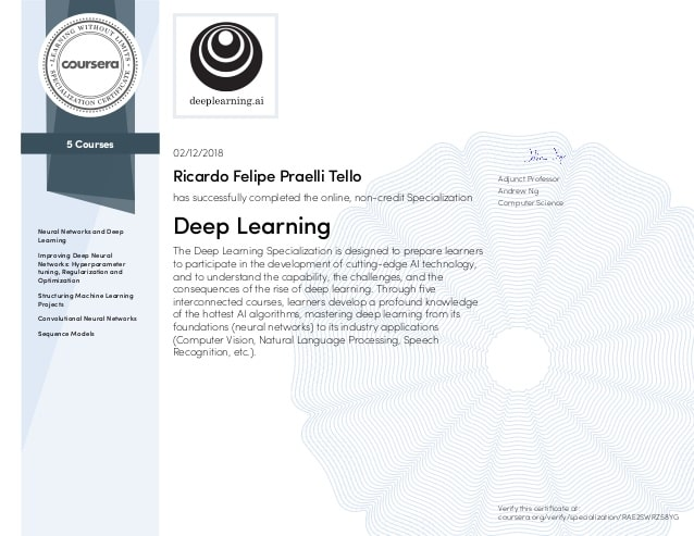 Enroll in Deep Learning Specialization on Coursera now! Skills for now and the future!