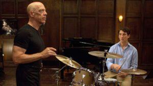 Scene from Film, Whiplash featuring J.K. Simmons &Miles Teller and