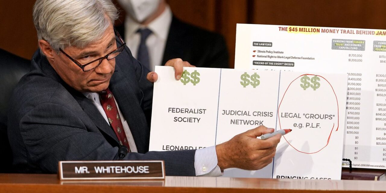 Senator whitehouse traces the dark money trail to the highest court in the land.