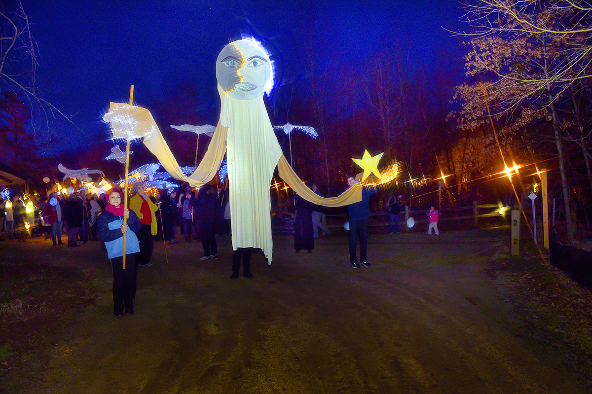 """n Durham Cool of Sol Ramirez's light-up Moon puppet for the Hillsborough Arts Council for the Solstice Lantern River Walk 2019."""""""