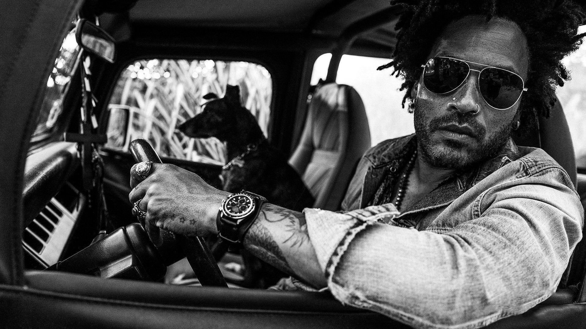 Lenny Kravitz with Dog in his truck