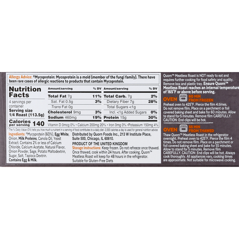 Quorn Meatless Roast Ingredient and Nutrition List