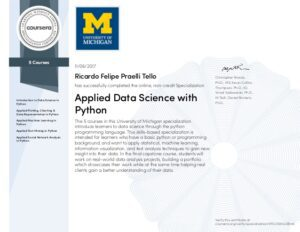 Applied Data Science with Pyton 5 Course University of Michigan Specialization certificate
