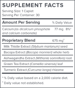 Protandim Supplement Fact label