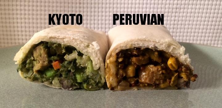 Peruvian and Kyoto Burrito split open
