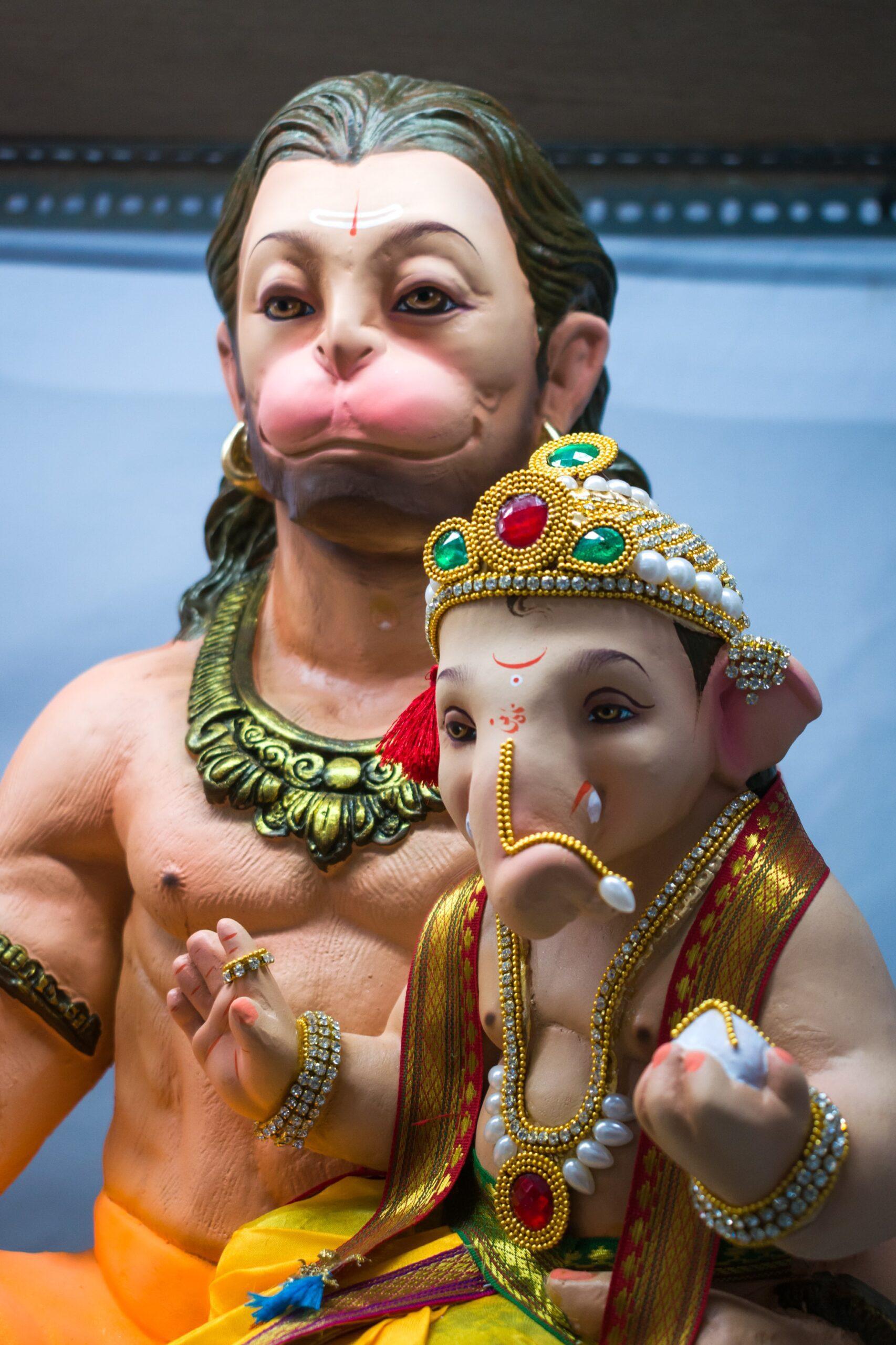 Hanuman statue and Ganesha,