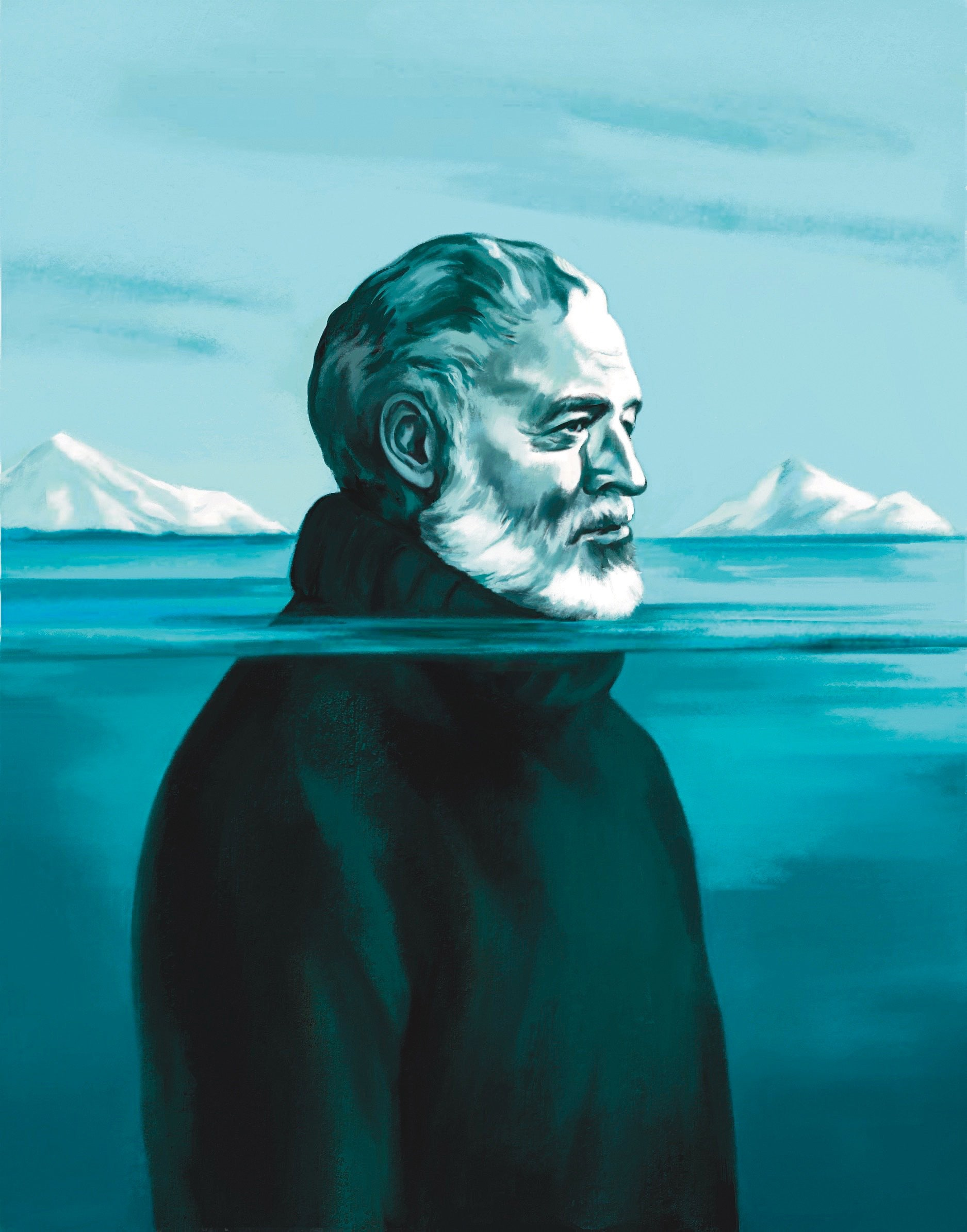 Hemingway learned to play the role of himself through study and persistence.Illustration by Aline Bureau