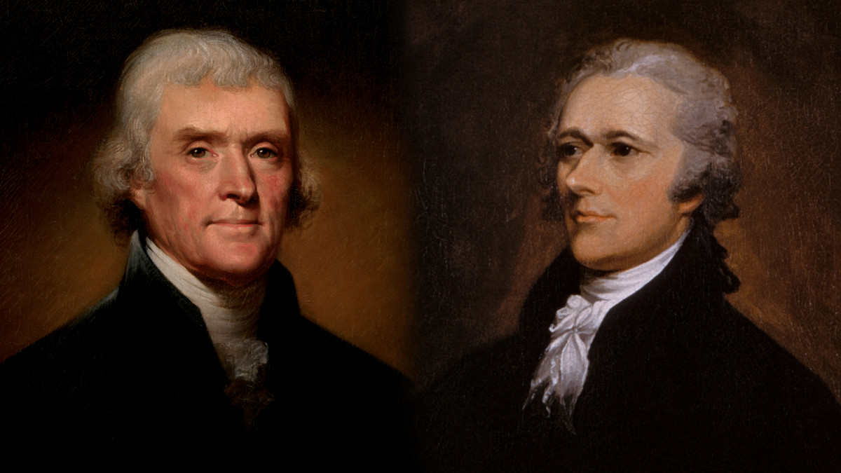 Hamilton and Jefferson portraits side by side