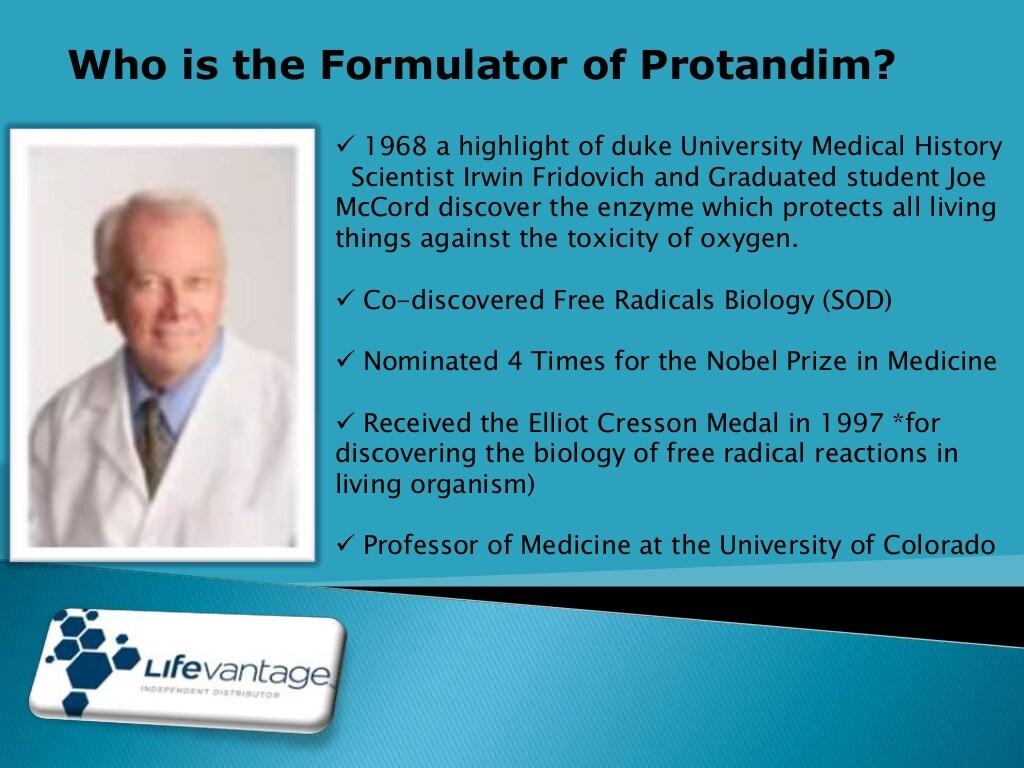 Who is the formulator of Protandim?